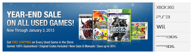 Year-End Sale on All Used Games!